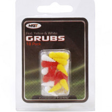 18pc Grubs 6 Red, 6 Yellow and 6 White (NGT)
