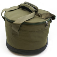 DELUXE OLIVE GREEN BAIT BIN WITH HANDLES AND ZIP COVER (385)