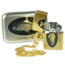 Carp Themed Gold Coloured Petrol Pocket Lighter with chain, gift tin