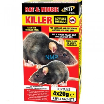 NTI Advanced Formula Rat & Mouse Killer 4 x 20g Refill Sachets